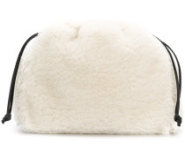 Shearling-Handtasche mit Kordelzug