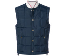 Downfilled Button Front Vest In Navy Solid Nylon Tech