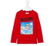 snowboarding teddy print T-shirt