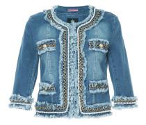 embellished collarless denim jacket