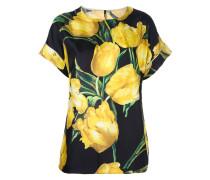 Seidenbluse mit Tulpen-Print