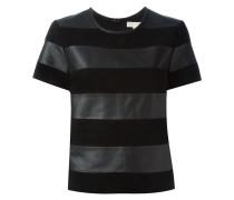 Gestreiftes Leder-T-Shirt