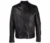 stitch-panel leather jacket