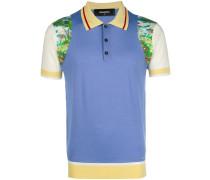 colourblock printed polo shirt