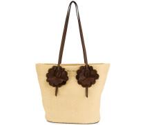 flower-embellished woven tote bag