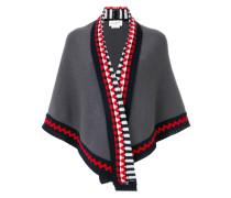 shawl with geometric print trim