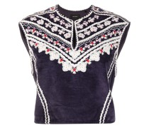 Camena floral-embroidered crop top