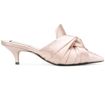 bow detail pointed toe mules