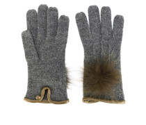furry pompom knitted gloves - women