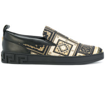 Greek Key embossed loafers