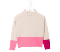 colour-block roll neck jumper