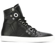 High-Top-Sneakers mit silberfarbenen Ösen