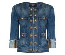 Jeansjacke mit Schulterpolstern