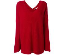 Gerippter Oversized-Pullover mit V-Ausschnitt