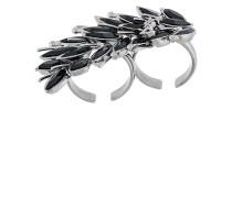 Zwei-Finger-Ring mit schwarzen Kristallen