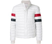 Down Filled Leather Ski Jacket With Front Guard & Red, White and Blue Sleeves In Deerskin