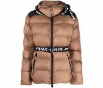 logo belt puffer jacket