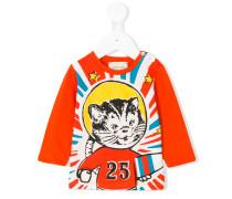 space cat print T-shirt