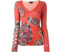 paisley print v neck jumper