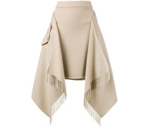 asymmetric blanket fringe skirt