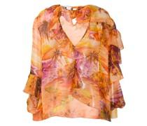 Bluse mit tropischem Print