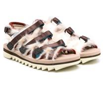 Sandalen mit Faux-Fur-Besatz