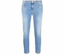 Ausgeblichene Cropped-Skinny-Jeans
