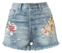 Jeans-Shorts mit Blüten-Print