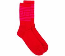 Gerippte Socken mit Greca-Motiv