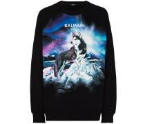 Sweatshirt mit Husky-Print