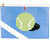 Large Zipper Laptop Holder (39x28Cm) With Tennis Ball Intarsia In Pebble Grain & Calf Leather