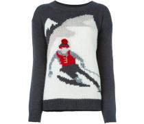 Intarsien-Pullover mit Skifahrermotiv - women