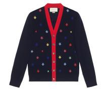 Bees & stars intarsia knit cardigan