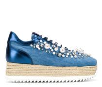 embellished denim platform sneakers