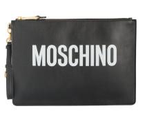 leather logo clutch