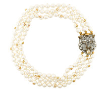 Feline motif pearl necklace