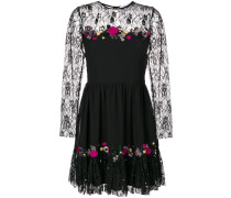 lace-panelled crepe dress