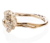 18kt 'Wave' Gelbgoldring mit Diamanten
