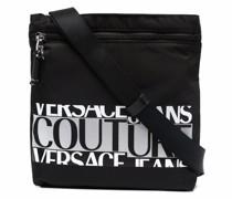 logo-print zipped messenger bag