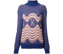 Intarsien-Pullover mit Wellenmuster