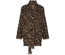 leopard-pattern fringed cardigan