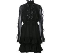 Gerüschtes Kleid mit semi-transparentem Design