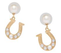 rhinestone faux pearl horseshoe earrings