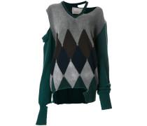 distressed diamond sweater