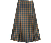 tartan-pattern pleated midi skirt