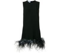 feather trim shift dress