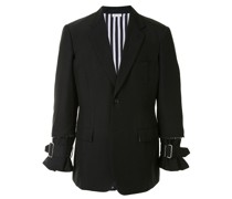 raw edge blazer jacket with buckle detail