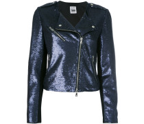 sequinned biker jacket