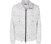 linear print lightweight jacket
