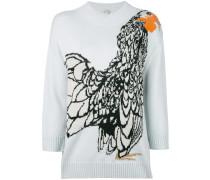 Intarsien-Pullover mit Vogelmotiv